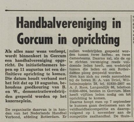 50 jaar geleden werd oprichting aangekondigd